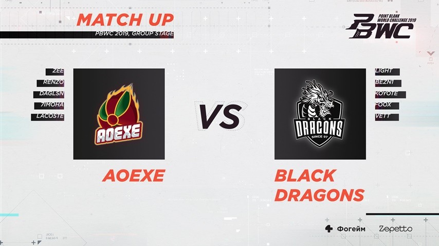 Match Stat: AoeXe VS Black Dragons (PBWC 2019 Group Stage)