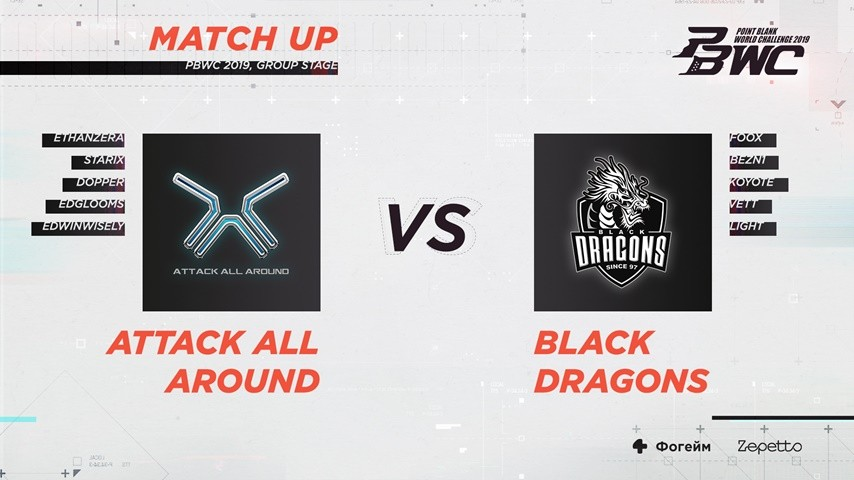 Match Stat: Attack All Around VS Black Dragons (PBWC 2019 Group Stage)